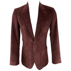 DOLCE & GABBANA Size 36 Burgundy Corduroy Notch Lapel Sport Coat