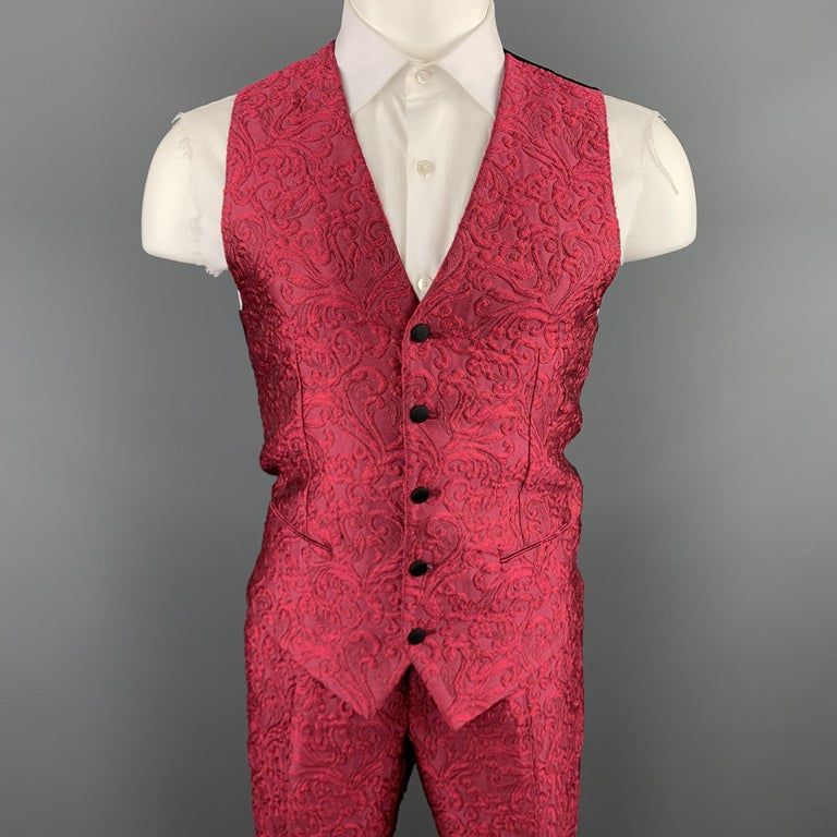 DOLCE & GABBANA Size 36 Raspberry Pink Brocade 3 Piece Peak Lapel Suit In New Condition For Sale In San Francisco, CA