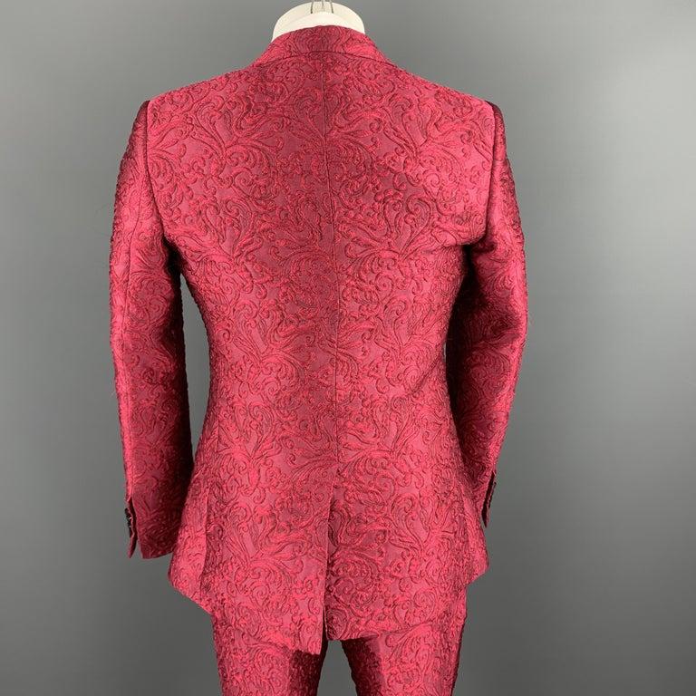 Men's DOLCE & GABBANA Size 36 Raspberry Pink Brocade 3 Piece Peak Lapel Suit For Sale