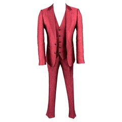 DOLCE & GABBANA Size 36 Raspberry Pink Brocade 3 Piece Peak Lapel Suit