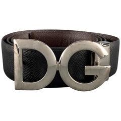 DOLCE & GABBANA Size 38 Black & Brown Textured Leather SIlver Tone DG Buckle Bel