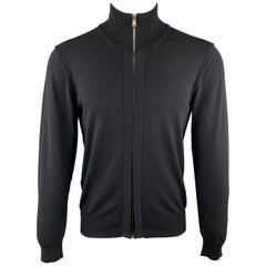 DOLCE & GABBANA Size 38 Black Rayon Blend Hidden Zip Zip Up Cardigan Sweater