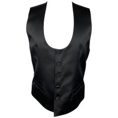 DOLCE & GABBANA Size 38 Black Silk Blend Slit Pockets Vest