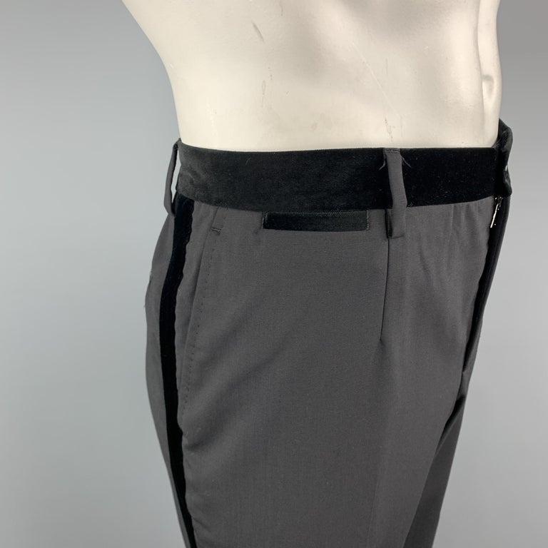 DOLCE & GABBANA Size 38 Black Wool Blend Velvet Trim Tuxedo Pants In Excellent Condition For Sale In San Francisco, CA