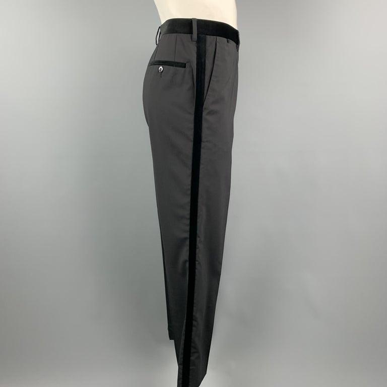 Men's DOLCE & GABBANA Size 38 Black Wool Blend Velvet Trim Tuxedo Pants For Sale