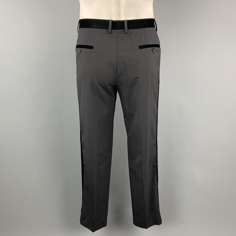 DOLCE & GABBANA Size 38 Black Wool Blend Velvet Trim Tuxedo Pants For Sale 1