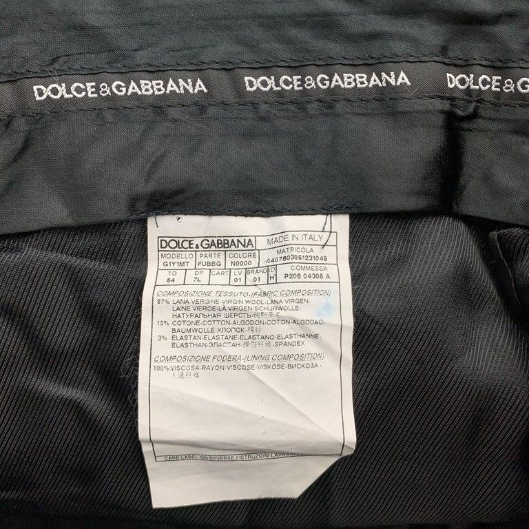 DOLCE & GABBANA Size 38 Black Wool Blend Velvet Trim Tuxedo Pants For Sale 2
