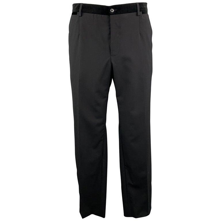 DOLCE & GABBANA Size 38 Black Wool Blend Velvet Trim Tuxedo Pants For Sale