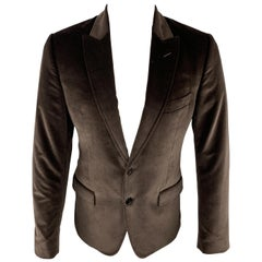 DOLCE & GABBANA Size 38 Brown Solid Cotton Velvet Peak Lapel Sport Coat