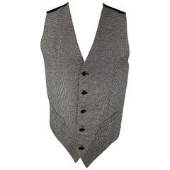 DOLCE & GABBANA Size 38 Grey & Black Houndstooth Cotton Vest