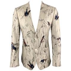 DOLCE & GABBANA Size 38 Ivory Birds Print Silk Peak Lapel Sport Coat