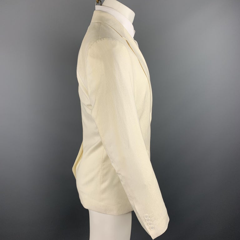 DOLCE & GABBANA Size 38 Regular Cream Textured Wool Sport Coat In New Condition For Sale In San Francisco, CA