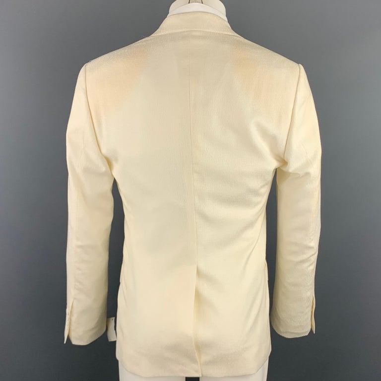 Men's DOLCE & GABBANA Size 38 Regular Cream Textured Wool Sport Coat For Sale