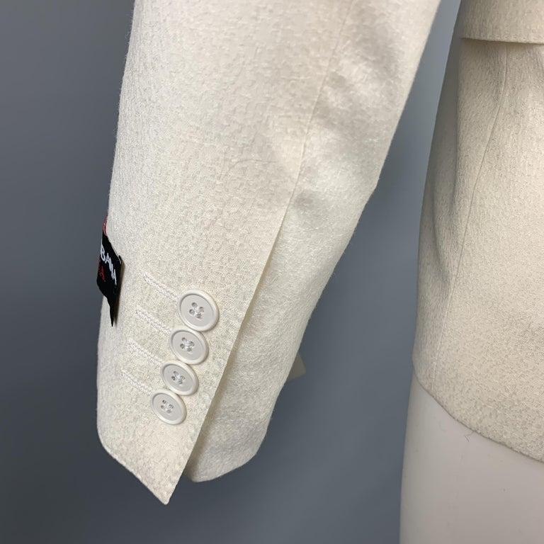 DOLCE & GABBANA Size 38 Regular Cream Textured Wool Sport Coat For Sale 1