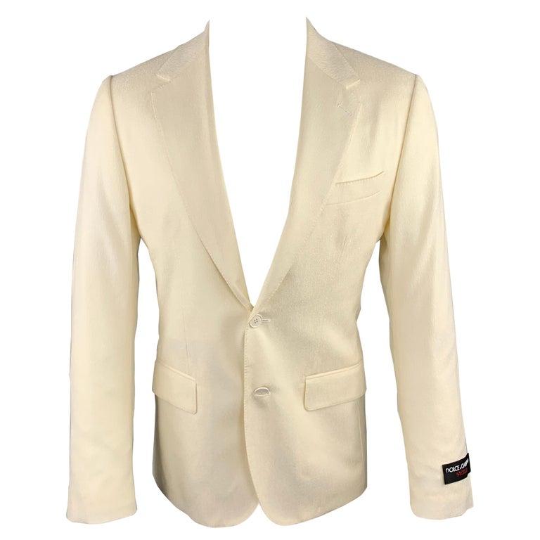 DOLCE & GABBANA Size 38 Regular Cream Textured Wool Sport Coat For Sale