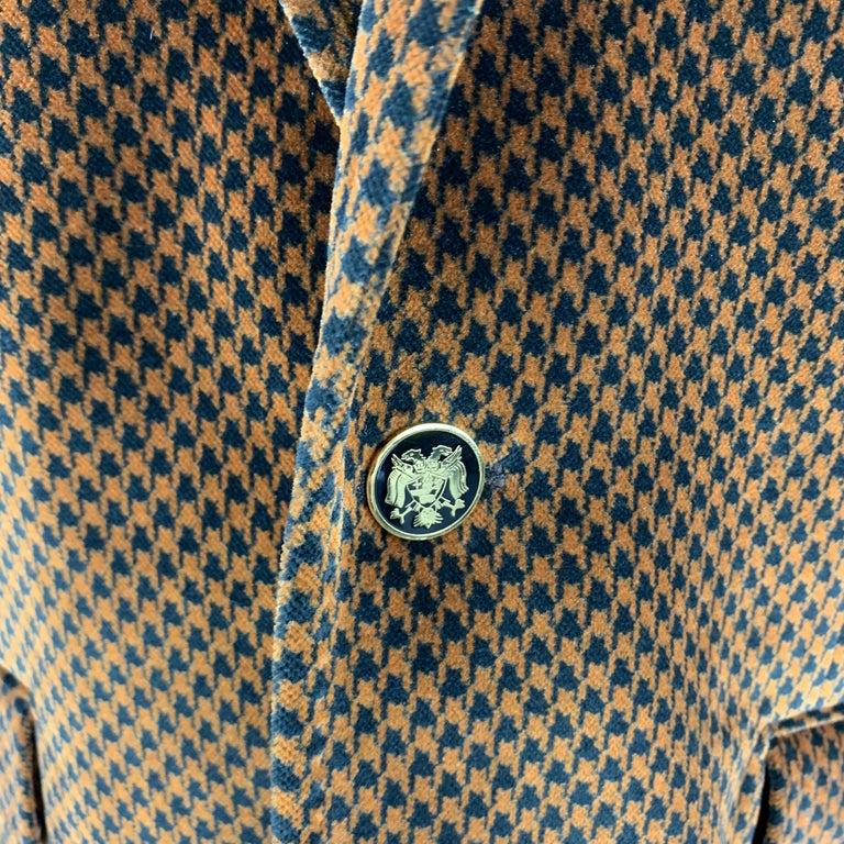 Brown DOLCE & GABBANA Size 39 Black & Copper Houndstooth Velvet Sport Coat For Sale