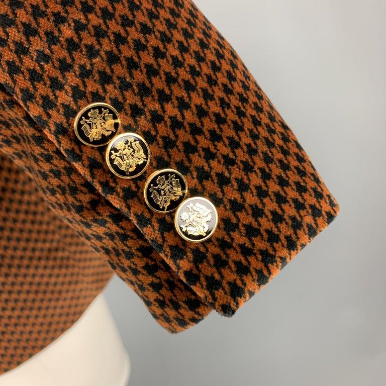 Men's DOLCE & GABBANA Size 39 Black & Copper Houndstooth Velvet Sport Coat For Sale