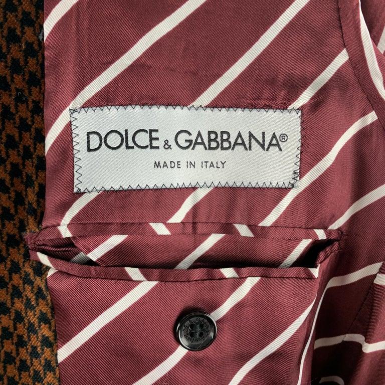 DOLCE & GABBANA Size 39 Black & Copper Houndstooth Velvet Sport Coat For Sale 2