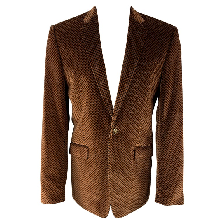 DOLCE & GABBANA Size 39 Black & Copper Houndstooth Velvet Sport Coat For Sale