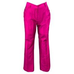 DOLCE & GABBANA Size 4 Fuchsia Silk High Waisted Dress Pants