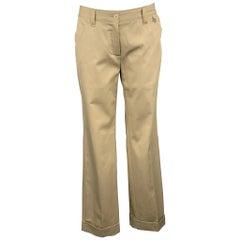 DOLCE & GABBANA Size 4 Khaki Cotton Wide Leg Dress Pants