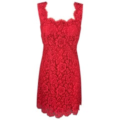 DOLCE & GABBANA Size 4 Red Lace Silk Lined Cocktail Dress