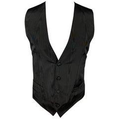 DOLCE & GABBANA Size 40 Black Print Silk Buttoned Dress Vest