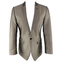 DOLCE & GABBANA Size 40 Black & Silver Dots Silk Peak Lapel Sport Coat