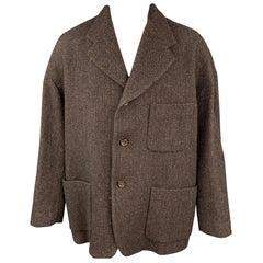DOLCE & GABBANA Size 40 Brown Herringbone Wool / Nylon Notch Lapel Coat