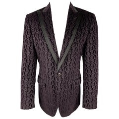 DOLCE & GABBANA Size 40 Purple Paisley Velvet Satin Peak Lapel Sport Coat
