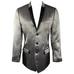 DOLCE & GABBANA Size 40 Silver & Black Herringbone Silk Blend Sport Coat