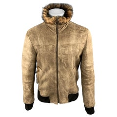 DOLCE & GABBANA Size 40 Tan Distressed Shearling Zip Up Bomber Jacket