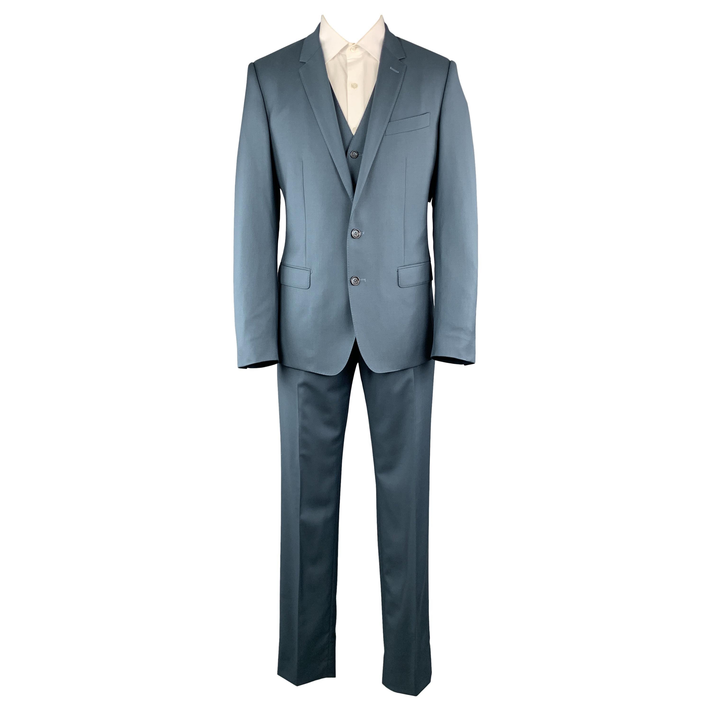 DOLCE & GABBANA Size 40 Teal Blue Notch Lapel 3 piece Suit
