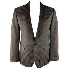 DOLCE & GABBANA Size 42 Brown Jacquard Cotton Blend Beaded Shawl Collar Sport Co