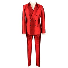 DOLCE & GABBANA Size 42 Red Silk Shantung Double Breasted 3 Piece Suit