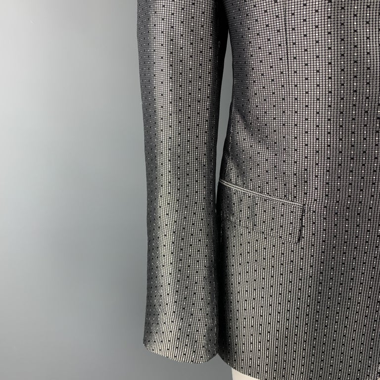 DOLCE & GABBANA Size 42 Regular Silver & Black Jacquard Silk Sport Coat In Excellent Condition For Sale In San Francisco, CA