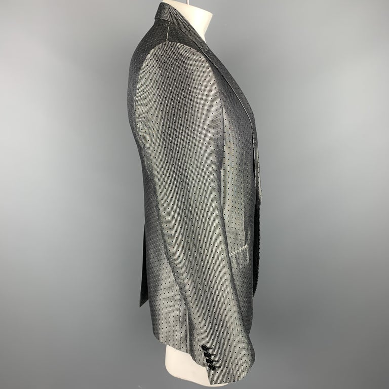 DOLCE & GABBANA Size 42 Regular Silver & Black Jacquard Silk Sport Coat For Sale 1