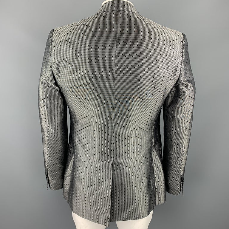 DOLCE & GABBANA Size 42 Regular Silver & Black Jacquard Silk Sport Coat For Sale 2