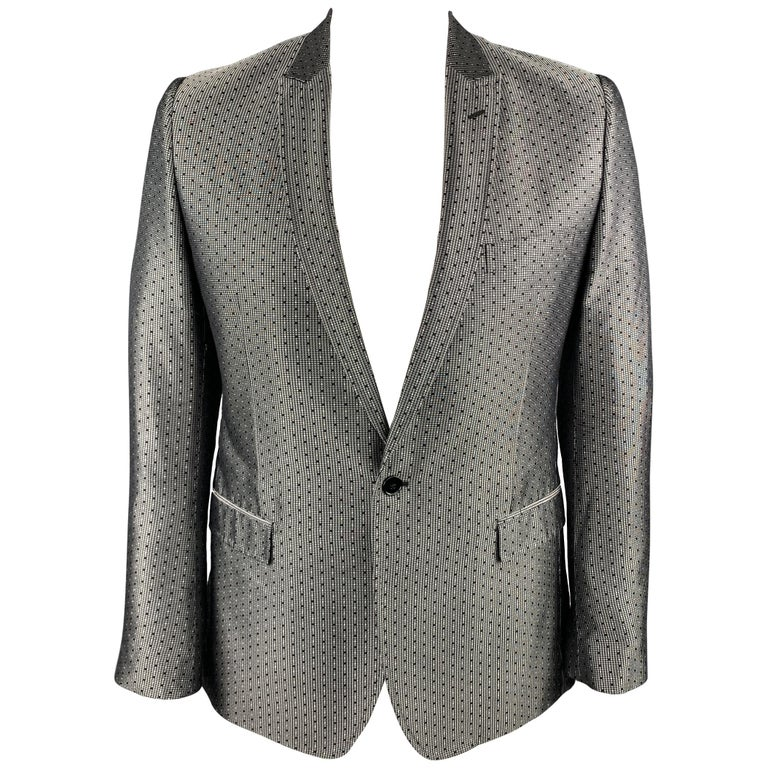 DOLCE & GABBANA Size 42 Regular Silver & Black Jacquard Silk Sport Coat For Sale