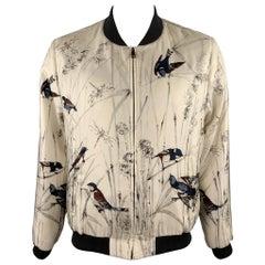 DOLCE & GABBANA Size 44 Beige Bird Print Silk Zip Up Jacket