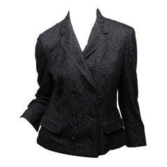 Dolce & Gabbana Size 44 Black Lace 3/4 Sleeve Double Breasted Jacket