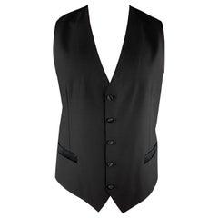 DOLCE & GABBANA Size 44 Black Wool Blend Polka Dot Back Buttoned Vest