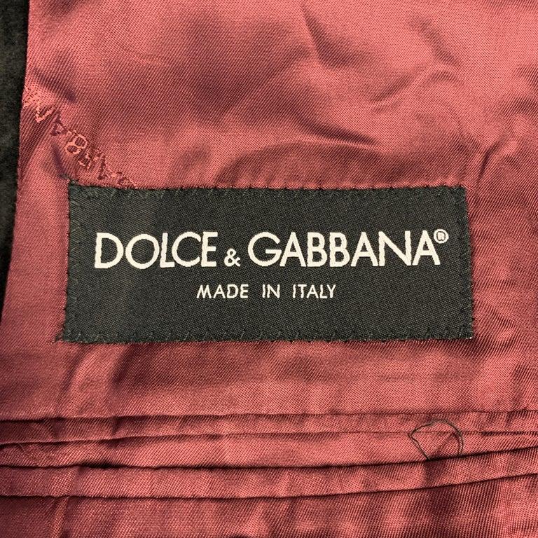 DOLCE & GABBANA Size 44 Regular Black Cotton Velvet Sport Coat For Sale 2