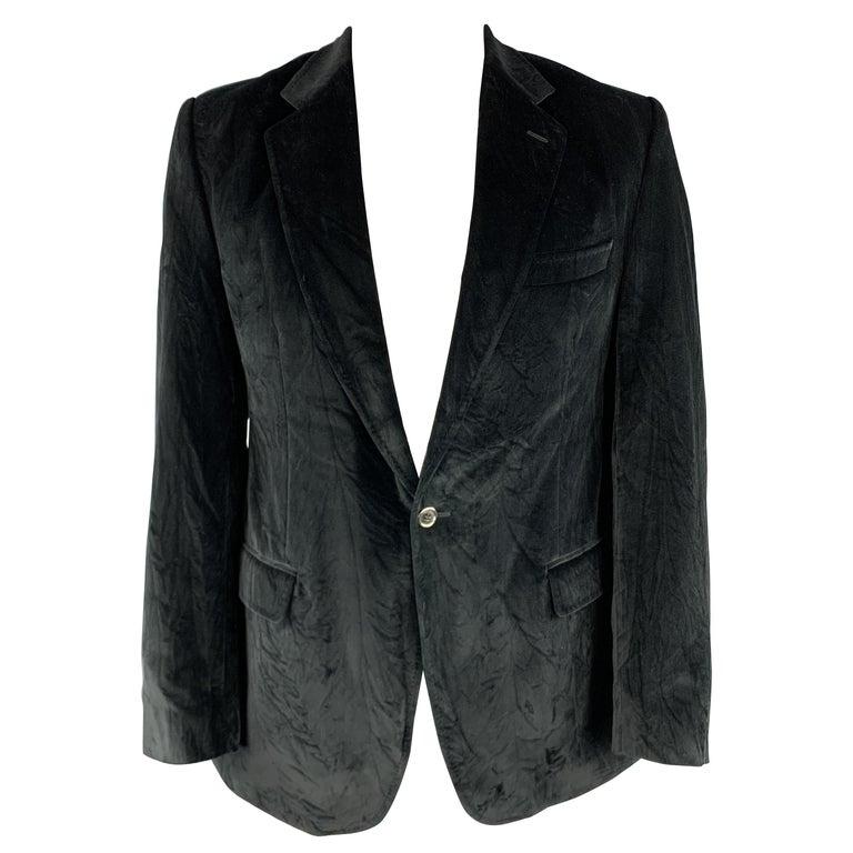 DOLCE & GABBANA Size 44 Regular Black Cotton Velvet Sport Coat For Sale