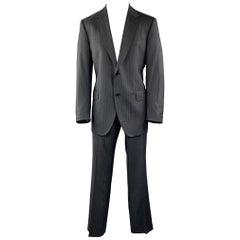 DOLCE & GABBANA Size 44 Regular Charcoal Stripe Wool Notch Lapel Suit