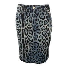 DOLCE & GABBANA Size 6 Blue Leopard Print Distressed Denim Pencil Skirt