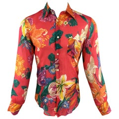DOLCE & GABBANA Size 6 Floral Fuchsia Cotton Button Up Long Sleeve Shirt