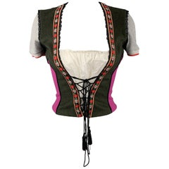 DOLCE & GABBANA Size 8 Olive & Fuchsia Color Block Bustier Top