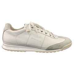 DOLCE & GABBANA Size 9 White Leather & Gray Suede Lace Up Sneakers