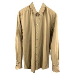DOLCE & GABBANA Size L Olive Cotton Long Sleeve Shirt
